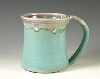 Coffee Mug Cup ,large ceramic mug with large Handle, turquoise,  wheel thown (20oz) -- Perfect Hot & Chocolate