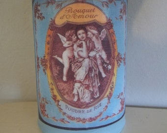 Shabby French Tin Can Vase Chalk Paint Decoupage Tin Can Pencil Holder