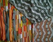 DIY Fabric and notions Orange Stripes & Grey Zigzag for 1 BRA and BRIEF by Merckwaerdigh