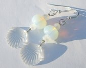 take me to the beach vintage lucite seashell and opalite pierced dangle hand made wire wrapped affordable unique earrings