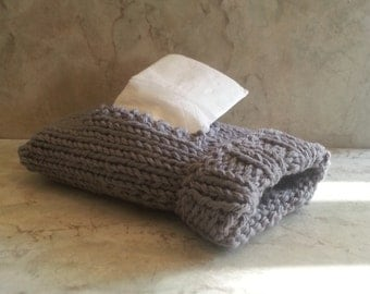 Pocket Kleenex Travel Tissue Sock Cover Handknit Grey Cotton Top or Side Pull Gift under 20 Back to School