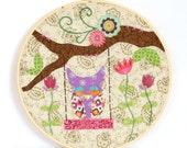 Tan Paisley Girl Owl Collage Hoop Art - Tan Owl Embroidery Hoop Art - Purple Owl Wall Art - Whimsical Owl Wall Art - Gift below 20 dollars