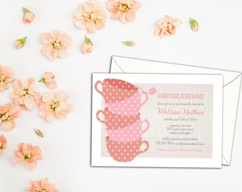 Tea Cups Baby or Bridal Shower Invitation