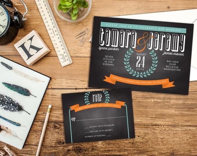Wedding Invitation set, Bold Typography Wedding Invitation, Chalkboard, Save the Date Card, Wedding Postcard, Wedding Response card