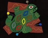 FROG SALE - Fabulous Folk Art Frog Series Mola # 4 - Hand Sewn Kuna Indian Applique