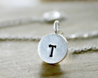 Initial Necklace - personalized necklace sterling silver hand stamped jewelry