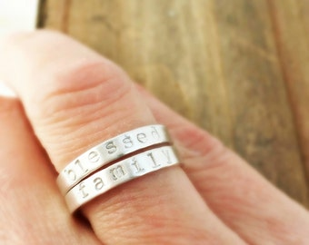 Two Custom Sterling silver hand stamped stacking rings, stacking ring set, personalized stacking rings, Blessed, Family
