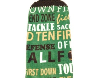 Football Words Hand Towel With Dark Brown Crocheted Top