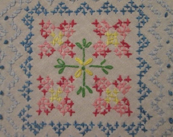 Vintage Embroidered Cotton Tablecloth - Blue and Pink Cross Stitch
