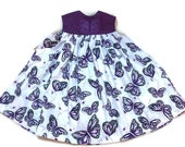 Dress Purple Butterflies Fabric Embroidery Size 3 T