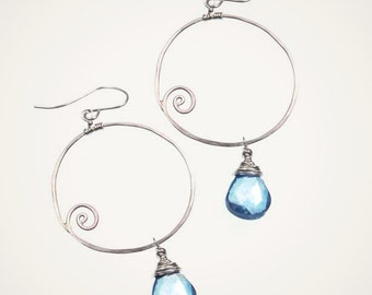 WAVE EARRINGS sterling silver earrings nature inspired jewelry ocean blue gemstone earrings resort jewelry ocean earrings circle jewelry
