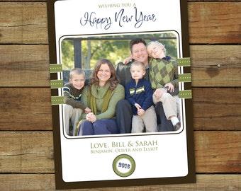 Photo new years card - Happy dots 2017 happy new year card, photo card, printable card or printed cards, personalized photo card