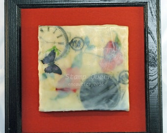 Timeless Poppies 4 - encaustic wax painting