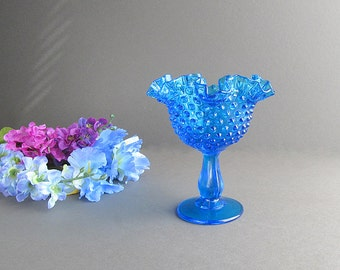 Vintage Blue Hobnail Bowl, Blue Hobnail Footed Bowl, Fenton Hobnail Bowl, Blue Hobnails, Pedestal Bowl