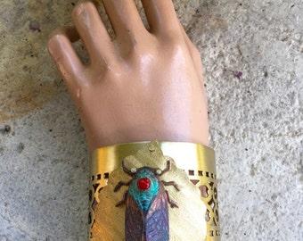 Poppy Jasper Cicada Cuff Bracelet - Bejeweled Cicada, Cicada Cuff, Insect Jewelry, Insect Bracelet, Cicada Bracelet