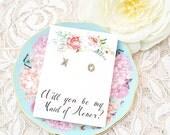 Will you be my bridesmaid earring / Will you be my bridesmaid gift / Bridesmaid Proposal/ Bridesmaid Stud Earrings/ XO Earrings