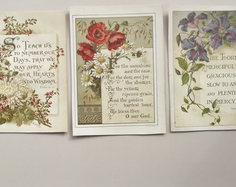 Antique spiritual prints group of 3 religious prayer and biblical bible Christian sayings with colored floral illustrations Alf Cooke Leeds