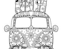 hippie van coloring pages | Unique vw van related items | Etsy