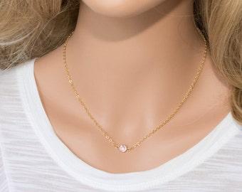 Swarovski Birthstone Necklace, June Birthstone Gold Necklace, Swarovski Gold Necklace, Light Amethyst Gold Necklace, Birthstone Jewelry
