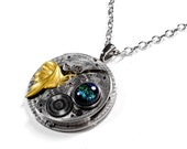 Steampunk Necklace GUILLOCHE Etched WALTHAM Pocket Watch Gold Leaf Blue MULTI Dichroic Cab Valentine's Day - Steampunk Jewelry by edmdesigns