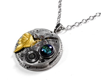 Steampunk Jewelry Necklace GUILLOCHE Etched WALTHAM Pocket Watch Gold Leaf Blue Multi Dichroic Cab Mens Jewelry Gift - Jewelry by edmdesigns