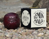 LEMON BALL Burgundy chromexcel leather baseball with black stitch, vintage style, Handmade, Sports, Play (LB-Burg-Blk)