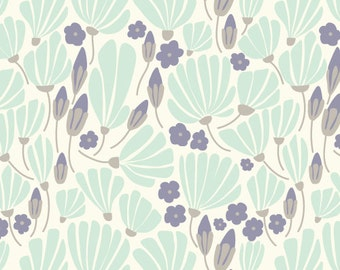 Breezy Floral turquoise from Cloud9 Organic Fabrics Morning Song Collection by Elizabeth Olwen