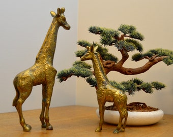 Pair of vintage brass giraffes