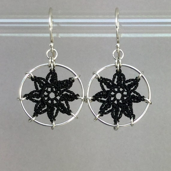 Compass Rose doily earrings, black silk thread, sterling silver