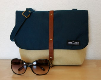 Messenger Bag in Blue and Tan