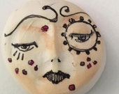 clay face  OOAK Handmade    jewelry craft supplies  cabochon  polymer doll parts body