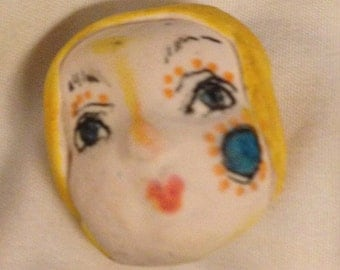 clay face jewelry craft supplies  handmade cabochon    polymer clay  findings    girl  freckles