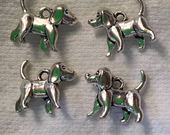 dog charm antiqued silver 3D jewelry findings pendant small puppy quantity four   (K7)