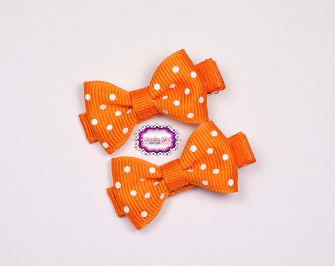 Mini Hair Bows ~ Orange Dots Hair Bow Set of 2 Small Hairbows - Girls Bows - Clippies - Baby Hair Bows ~ No Slip Grip always added
