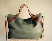 NEW///Oxford Sling in Sage Green Leather with Horween Leather Handles and Clip On Messenger