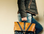 SAMPLE////Black and Camel Brown Structure Lizzy with Handle and Clip On Adjustable Strap