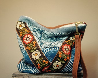 Indigo Block Print, Bohemian Jacquard, and Leather Pouch with Clip on Wrist Strap//Reversible