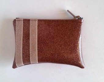 Coin purse light brown metalflake vinyl with champagne stripes