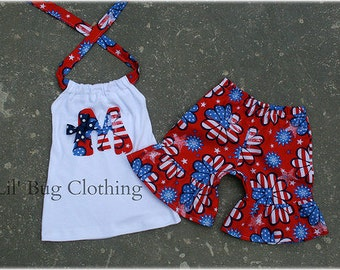 4th Of July Outfit, 4th Of July Personalized Girls Outfit, 4th Of July Short & Halter Top Parade Outfit, Boutique Girl Clothes