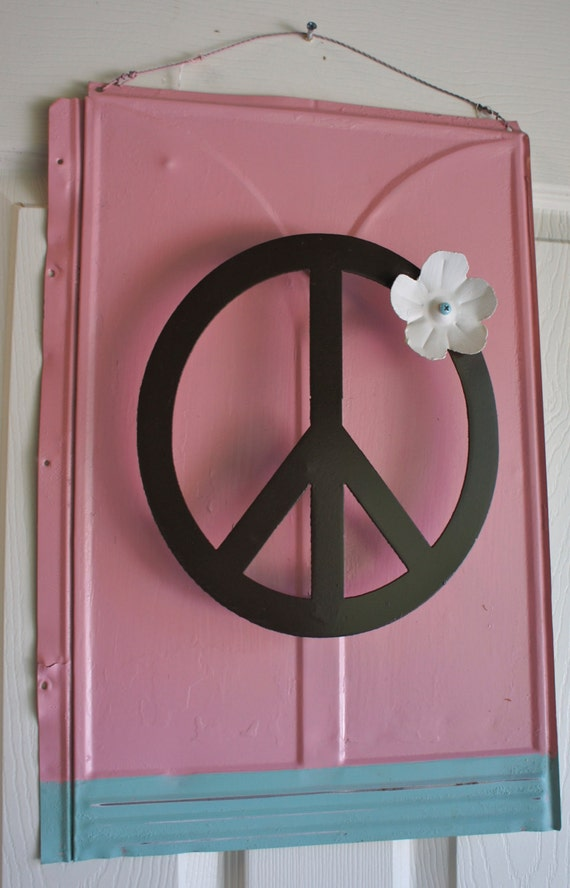 Peace Sign Wall Decor Metal : Large metal peace sign with flower wall decor