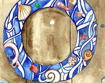 Sea Wreath Original Watercolor Painting Nautical Art Watercolor Illustration by Niina Niskanen