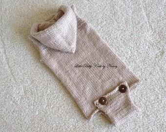 Sleeveless Baby Onesie, Vintage Styled Onesie with Hood,  Onesie with Button Bottom  Newborn Photo Props