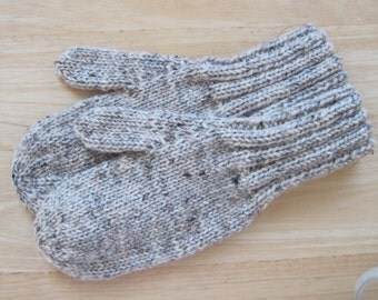 MITTENS HAND KNIT Adult Wool Birch Tweed