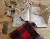 Buffalo Plaid Zipper bag in Winter Leather Camper Clutch storage case minimalist rustic travel clutch makeup bag father mother diaper bag