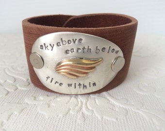 Sky Above Earth Below Fire Within Spoon Cuff