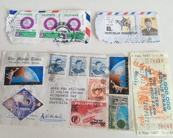 Vintage Air Mail Envelope Philippines Pilipinas Stamps from 70s with Paraphernalia
