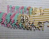 9 Carousel HORSES pink, dark aqua, gold chipboard covered die cuts 4 inches  x 3 3/8 inches [9AB 016]