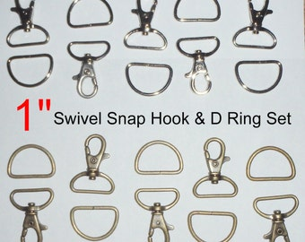 """10 SETS - 1"""" - WRISTLET Hardware, Purse Strap Clip, 1 Inch D ring and 1 Inch Swivel Snap Lobster Claw Hook -  Nickel Plate or Antique Brass"""