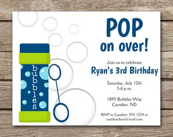 PRINTABLE - Bubbles Birthday Invitation - Bubbles Party - Boy