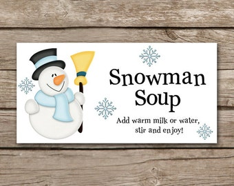 Snowman Soup Treat Topper, Winter Treat Bag Topper, Snowman Soup Tag, Snowman Soup Sticker, Holiday Tag, INSTANT DOWNLOAD